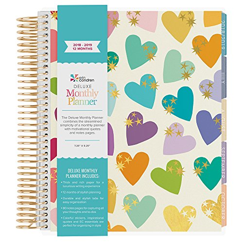 Erin Condren 2018-2019 12 Month Deluxe Monthly Day Planner (7x9 Book) - Sparkle Heart w/Metallic Gold Accents with Gold Coil (40 Additional Note Pages) Colorful (Aug - (Seven Day Planning Spread)