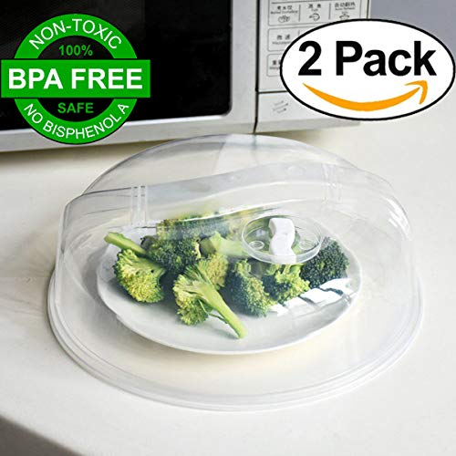 Crystal Oven (Microwave Plate Cover [BPA FREE] 2 Pack (10.5'') - Crystal Clear, Premium Quality Microwave Food Dish Cover Plate Steam Vent Splatter Lid By XERUS)