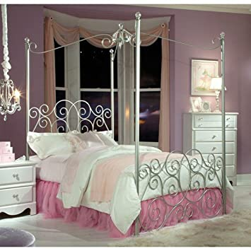 Standard Furniture Princess Canopy Bed In Silver Metal Twin