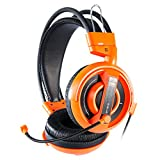 GranVela® H007 Gaming Headset 3.5mm Stereo Headphones with Enhanced Bass, In-line Control and Microphone for PC Computer Game -Orange