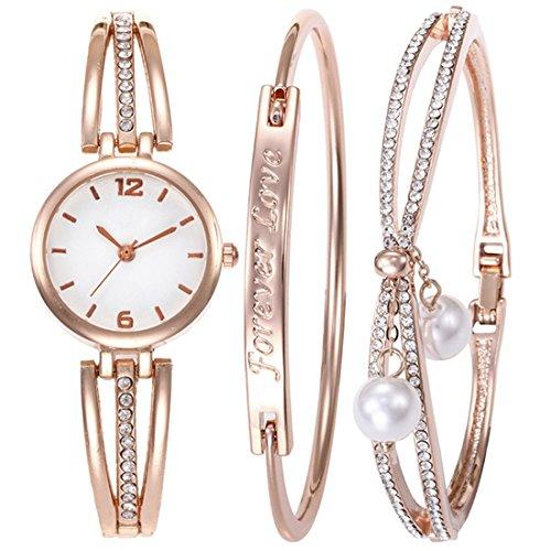 (Souarts Women's Rhinestone Round Mesh Quartz Watch Quote Bracelet Jewelry Set Rose Gold Color)