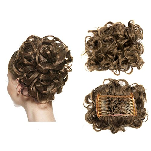 FOCUSSEXY Short Messy Curly Hair Scrunchie Bun Piece for sale  Delivered anywhere in USA