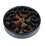 Slow Feeder Dog Bowl, Non Toxic Eco-friendly Interactive Fun Puzzle Dish with Non Skid Base Spiral Design Prevent Choking indigestion for Pets Dogs Cats (Black)