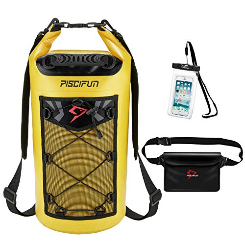 Piscifun Waterproof Dry Bag Backpack for Water Sports - Fishing Boating Kayaking Surfing Rafting Camping Gifts for Men and Women Free Waterproof Phone Case and Waist Pouch Yellow 40L