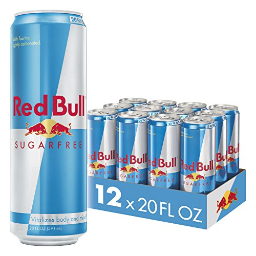 Red Bull Energy Drink Sugar Free 12 Pack of 20 Fl Oz, Sugarfree