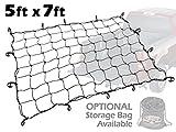 cargo net for truck - 5ft x 7ft PowerTye Mfg Truck & Trailer Large Elastic Cargo Net with 14 Adjustable Hooks, Black Net
