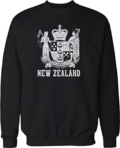 Hoodteez New Zealand Coat of Arms, St. Edward's Crown Crew Neck Sweatshirt, XL ()