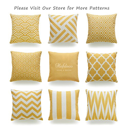 "Hofdeco Decorative Throw Pillow Cover HEAVY WEIGHT Cotton Linen Mustard Yellow Geometric Solid 18""x18"" 45cm x 45cm Set of 2"