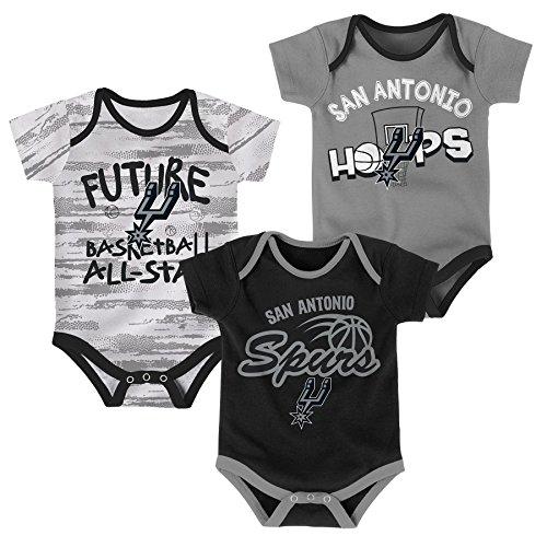 NBA Newborn & Infant 3 Piece Onesie Set San Antonio Spurs-Black-6-9 Months