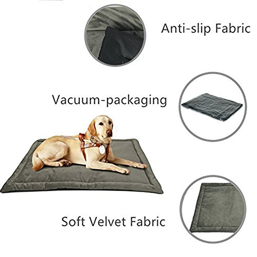 Dog Bed Mat Washable Soft Fleece Crate Pad - Anti-Slip Fleece Kennel Pad for Small Medium Large Pets Mattress by HAOLONGXIANG (Image #1)