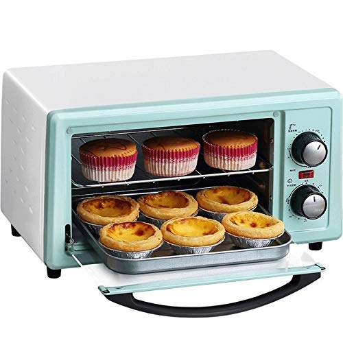 LQRYJDZ Mini Oven Home,60 Minutes Timing,Pizza Baking Cake Bread Automatic Electric Oven 12 liters- Bake - Broil - Roast, Includes Rack and Baking Pan (Color : Green, Size : 36.7 x 27.5 x 21CM) by LQRYJDZ