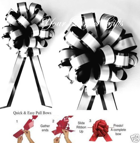 10 BLACK WHITE 8'' PULL PEW BOW WEDDING CHAIR DECORATION