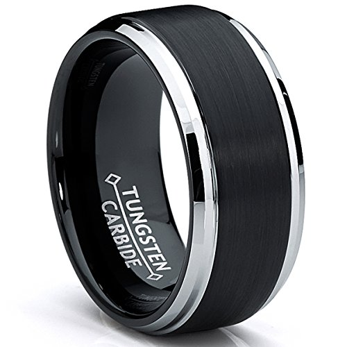 Ultimate Metals Co. 9MM Black Two Tone Tungsten Carbide Men's Brushed...