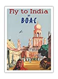 Fly to India by BOAC - British Overseas Airways Corporation - Vintage Airline Travel Poster c.1955 - Fine Art Print - 44in x 60in