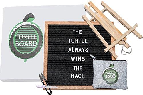 Letter Board - 12 X 12 Felt Letter Board Black | 340 Letters, Numbers, Symbols & Emojis, Felt Zipper Pouch, Filer, Scissors, and Stand | Changeable Message Board, Customizable Letterboard (Turtle Cut Out Design)