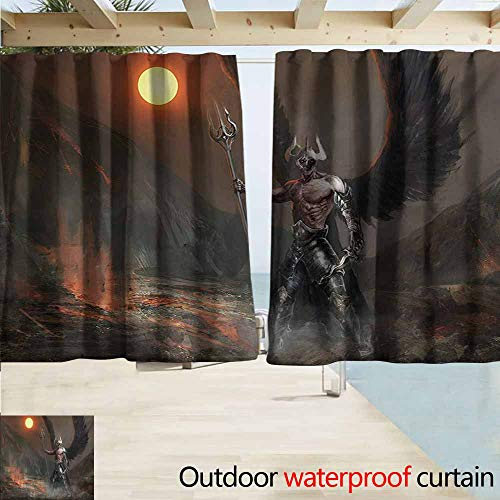 - Zmacdk Fantasy World Outdoor Window Curtains Knight with Wings Feathers Angel Devil Moon Fire Fantasy Night Illustration Perfect for Your Patio, Porch, Gazebo, or Pergola W72 xL72 Brown Yellow
