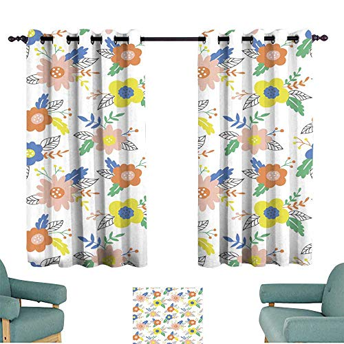 Printed curtain Seamless pattern with hand drawn flowers and leaves Can be used for wrapping paper wedding invitation wallpaper and textile design Vector illustration Darkening and Thermal Insulating (Printed Paper 12')
