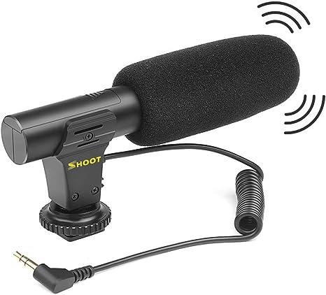 Docooler Shoot XT-451 Micrófono de micrófono estéreo de Condensador portátil con Jack de 3,5 mm Montaje de Zapata Caliente para Canon Sony Nikon Cámara Videocámara DV Smartphone: Amazon.es: Electrónica