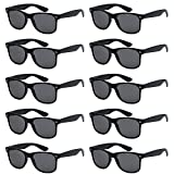 WHOLESALE UNISEX 80'S STYLE RETRO BULK LOT SUNGLASSES (Matte Black, Smoke)