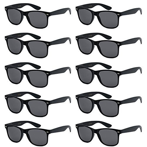 WHOLESALE UNISEX 80'S STYLE RETRO BULK LOT SUNGLASSES (Matte Black, Smoke) -