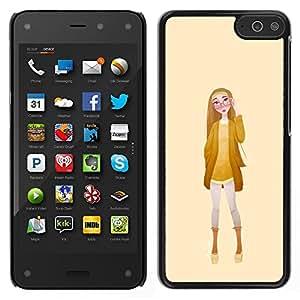 LECELL--Funda protectora / Cubierta / Piel For Amazon Fire Phone -- Chica Gafas Mujer Amarillo Moda --