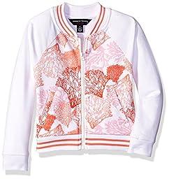 French Toast Big Girls\' Varsity Jacket, Red Orange, Large