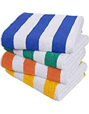 Utopia Towels - Cabana Stripe Beach Towels - 30 x 60 Inches - 100% Ring Spun Cotton Large Pool Towels, Soft and Quick Dry Swim Towels (Green, Orange, Yellow and Blue)