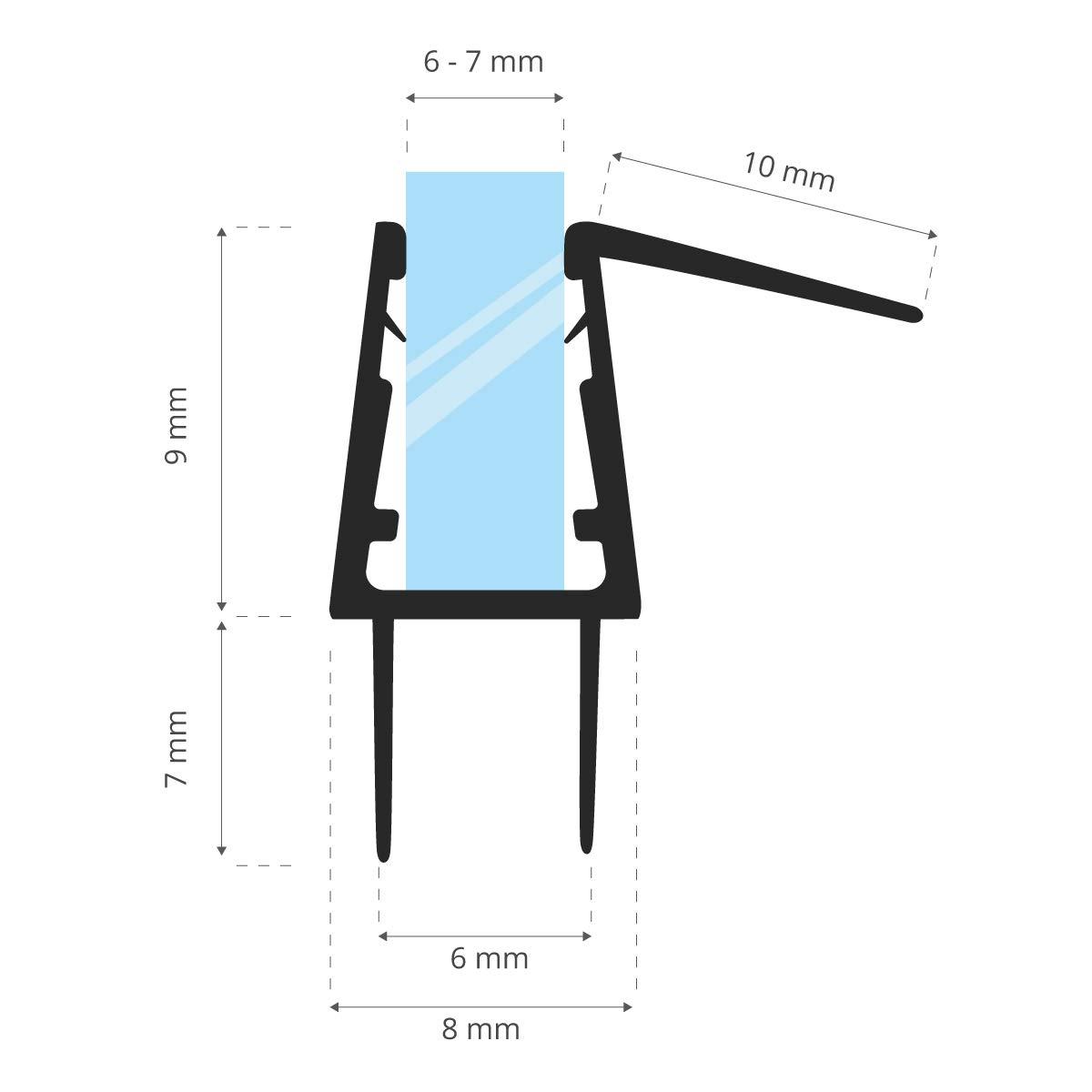100cm Gerade PVC Ersatzdichtung f/ür Dusche STEIGNER Duschdichtung UK20 Glasst/ärke 12// 13 mm