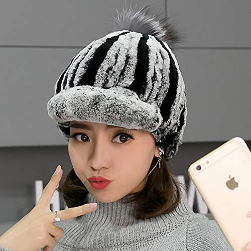 CNC.Factory Direct Hot Sale Caps for Women Real Rex Rabbit Fur Hats Genuine Knitted Rex Rabbit Fur Beanies Skullies
