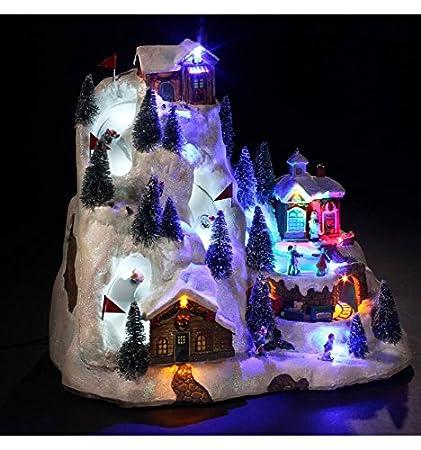 Village de Noël lumineux et animé - Village ski super G