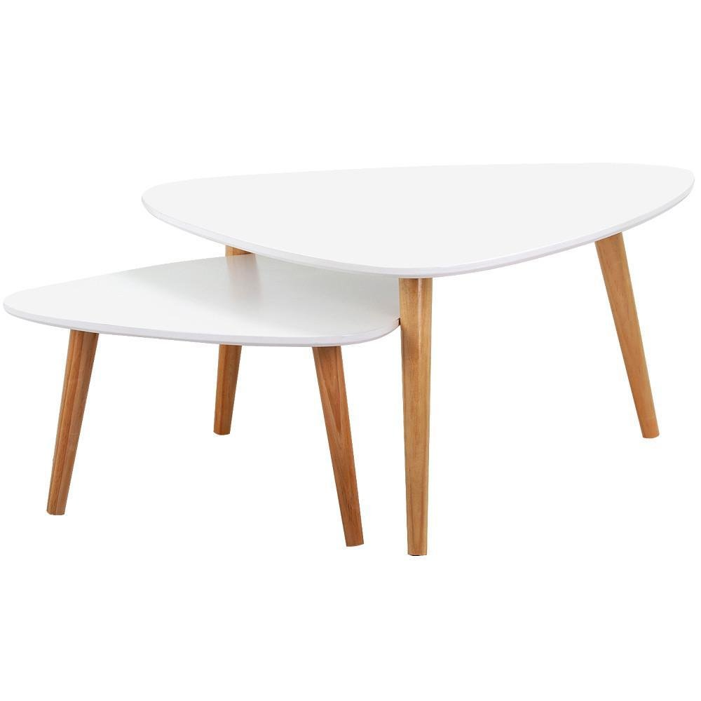 Popamazing Set of 2 Modern Nest of Tables White Gloss Wood Coffee Table Sofa Side End Table Living Room(large table:78.5x78.5x40 cm ;small table :56.5x56.5x30cm (LxDxH))