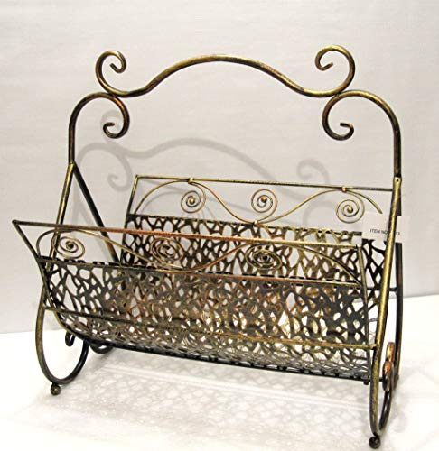 - United Copper Gold Wrought Iron Foldable Magazine Rack Basket