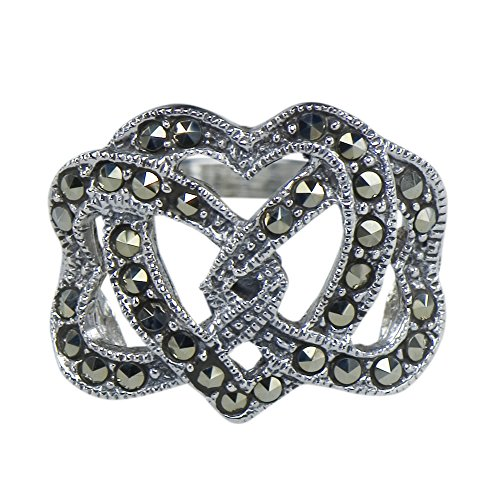 y Vintage Art Nouveau Marcasite Trintiy Love Hearts Deco Ring 925 Sterling Silver (Marcasite Heart Ring)