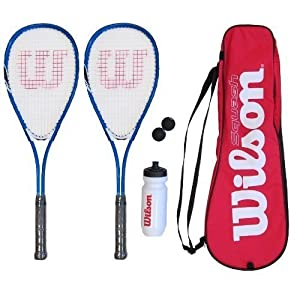 2 x Wilson Squash Racket Set with Balls, Waterbottle & Carrycase