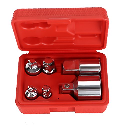 OCGIG 6 Pcs Impact Adapter and Reducer Set Drive Socket Adapter Converter for Impact Driver Conversions Red Case