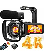 4K Video Camera Camcorder with Microphone Ultra HD 30MP YouTube Vlogging Camera 3.0 Inch Touch Screen 16X Digital Zoom Camera Recorder with Handheld Stabilizer and Remote Control
