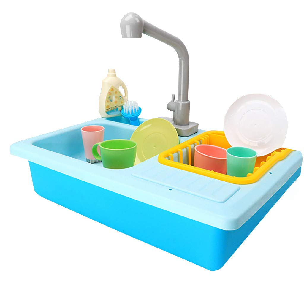 GARISH PIGS Color Changing Pretend Play Kitchen Sink Toys Children Heat Sensitive Thermochromic Dishwash Tool Kit House Clean Toys Playhouse B