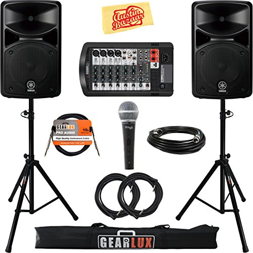 Yamaha STAGEPAS 400i Portable PA System Bundle with Microphone, Speaker Stands, Cables, and Austin Bazaar Polishing Cloth