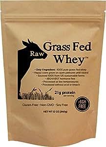 Raw Grass Fed Whey - Happy Healthy Cows, COLD PROCESSED Undenatured 100% Grass Fed Whey Protein Powder, GMO-Free, 12 oz