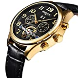 BINSSAW Men's Automatic Tourbillon Mechanical Watch Black Leather Fashion Male Watches Luxury Brand