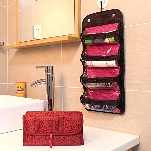 4-Layer Roll up Foldable Travel Organizer Multifunctional Hanging Makeup Cosmetic Bag Large Capacity Toiletry Storage Bag Organizer Bath Shower Clear Case Holder Pouch for Women Girls (Red)