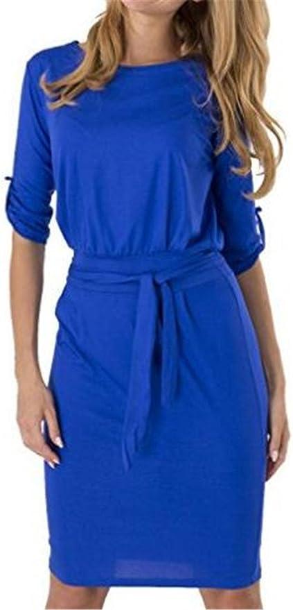 Sukienka ailient jednokolorowy łatwe okrągłe wycięcie pod szyją 1/2-ARM do kolan sukienki talii smukły sukienka cocktaik cierpienia impreza sukienka wieczorowa sukienka: Odzież