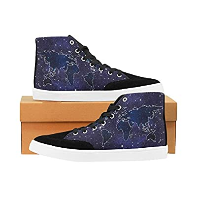 D-Story Custom World Map On Star Night High Top Shoes for Men Canvas Shoes Fashion Sneaker