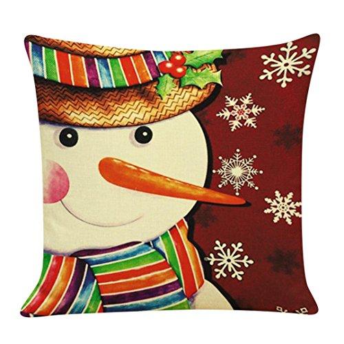 Gotd Christmas Snowman Santa ELK Reindeer Pillow Case 18 x 18 Cushion Cover Home Decor Design Throw Pillow Cover Throw Pillow Case (05)