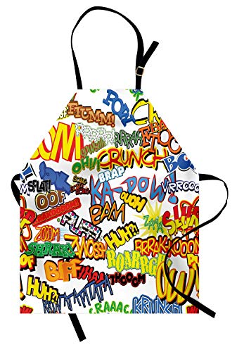 Lunarable Superhero Apron, Retro Comic Book Expressions Humor Cartoon Scream Crash Pow Vintage Design, Unisex Kitchen Bib with Adjustable Neck for Cooking Gardening, Adult Size, Red Yellow ()