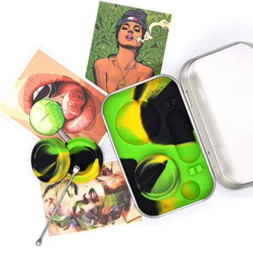 Collectors Storage Tin - Auchee Wax Oil Container Carving Tool Travel Kit 5ml Silicone Jar (2 units) + Carving Tool (1)+ Psychedelic Vinyl Decals Sticker (3) for Storage Balm, Concentration (Tin Box Kit-Black+Yellow+Green)