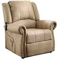 Homelegance 8437-1LT Power Lift Chair Tufted Plush Back Rest with Rolled Arm Rest, Taupe