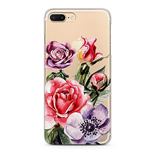 Lex Altern TPU Case for iPhone Apple Xs Max Xr 10 X 8+ 7 6s 6 SE 5s 5 Smooth Lightweight Floral Flexible Roses Violet Soft Cover Red Vintage Print Flowers Design Clear Gift Slim fit Teens Colorful