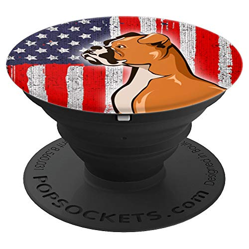 (Vintage Boxer Dog Dog Mom Patriotic American US Flag - PopSockets Grip and Stand for Phones and)