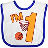 Inktastic - Im One! first birthday basketball Baby Bib White/Royal